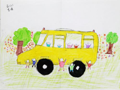 班李晴画出自己心中的海格快乐校车-海格客车 海格快乐校车受捐学