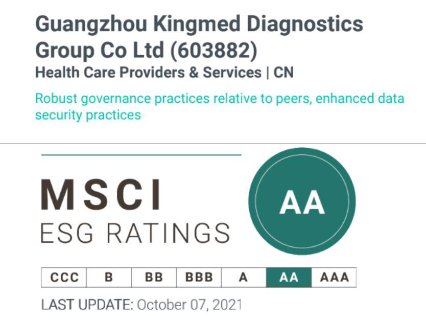 金域医学ESG评级跃升至AA级 达行业全球最高水平